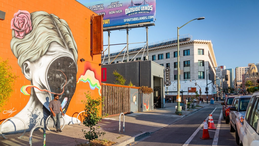 Telegraph Avenue which includes outdoor art, a city and street scenes