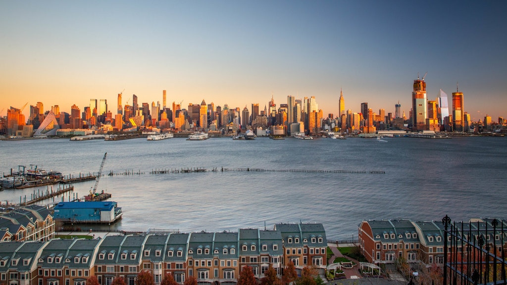 Weehawken featuring landscape views, a sunset and a bay or harbor