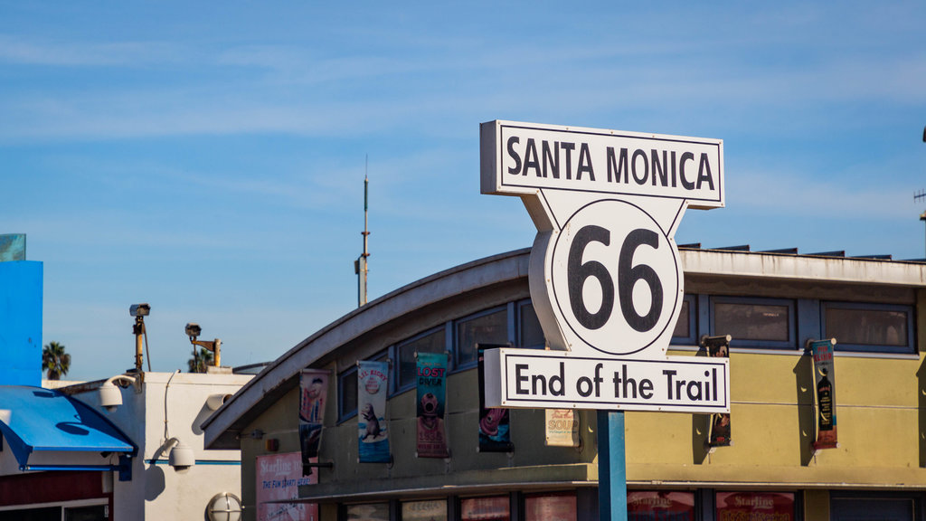 Santa Monica Pier which includes signage