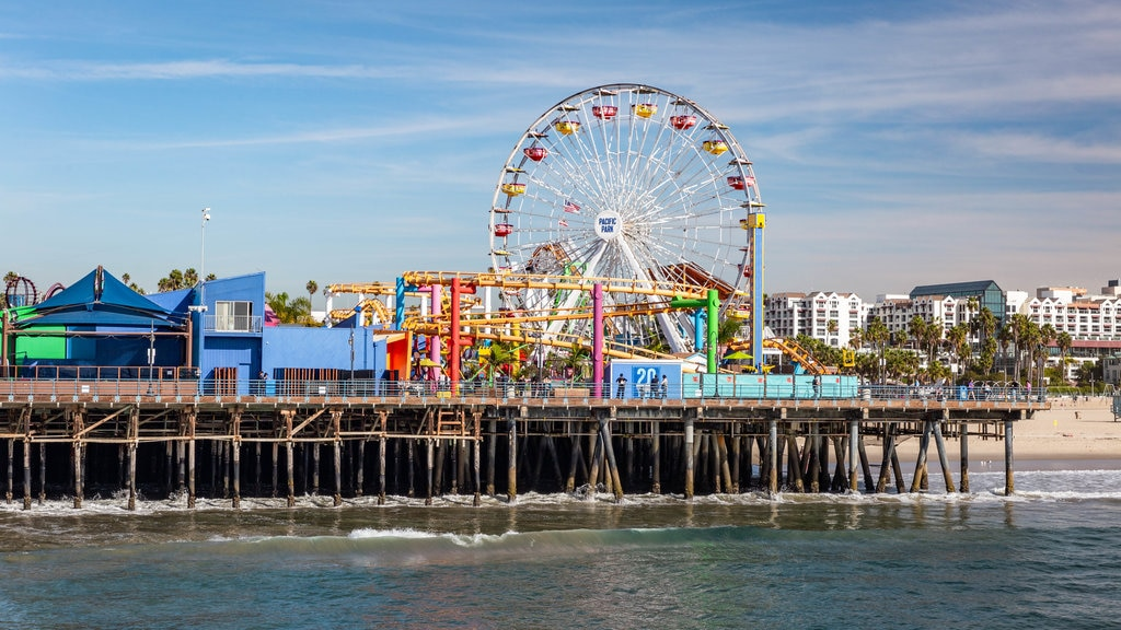 Santa Monica Pier featuring a bay or harbor