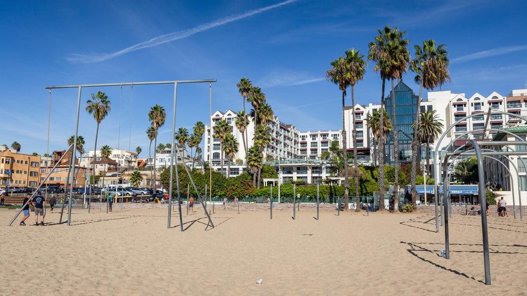 Santa Monica Beach showing a beach and a coastal town