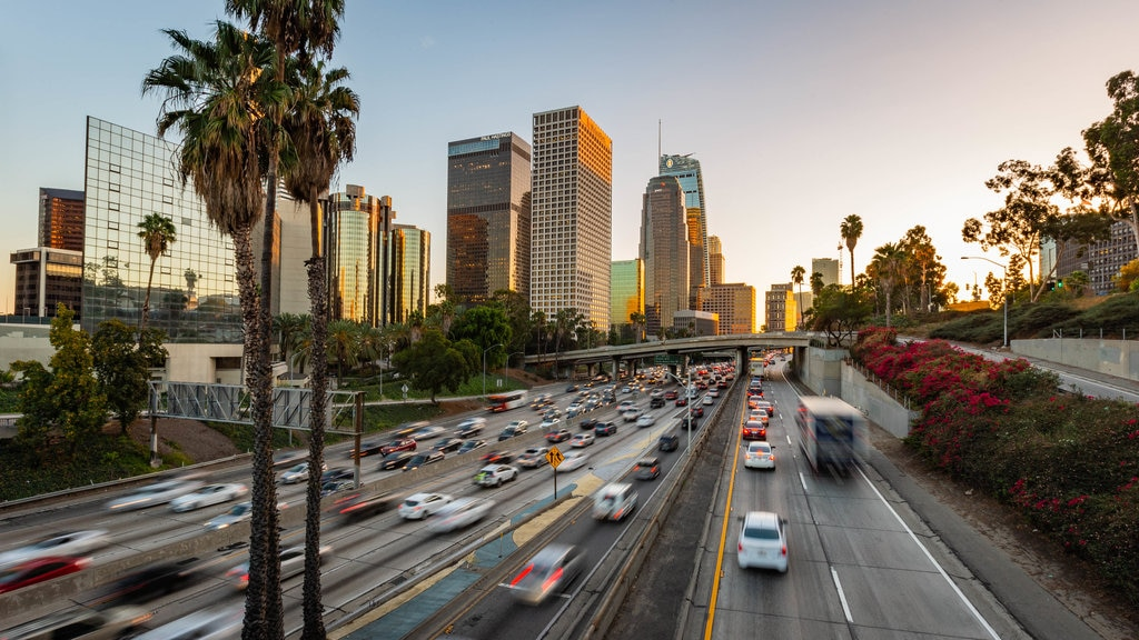 Downtown Los Angeles showing landscape views, a city and a sunset