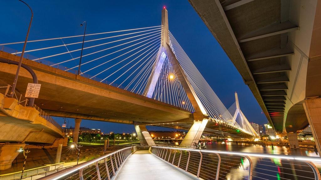 Zakim Bunker Hill Bridge showing night scenes, a bay or harbor and a bridge