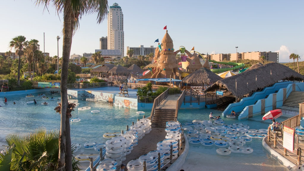 Schlitterbahn Beach Waterpark which includes landscape views, a waterpark and a sunset