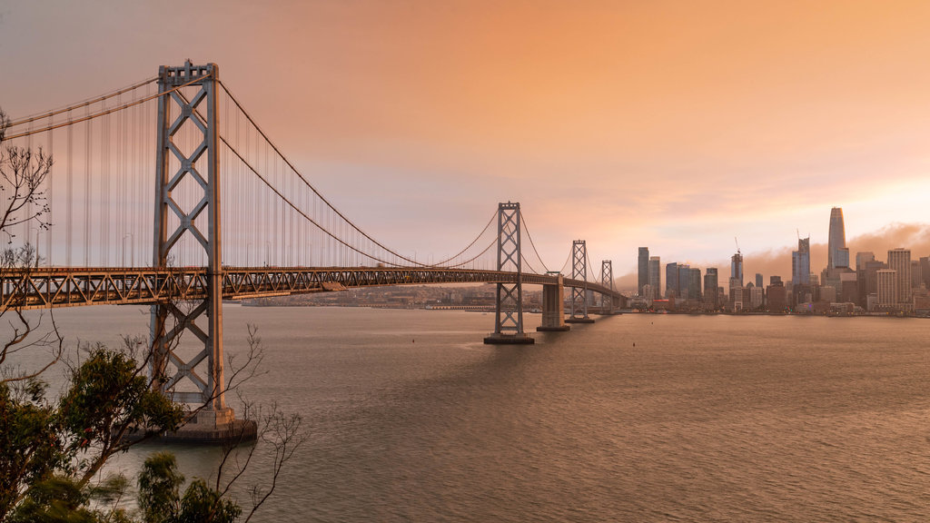 Bay Bridge showing a bridge, a bay or harbor and a sunset