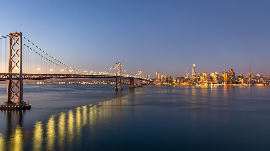 Bay Bridge showing a bridge, a bay or harbor and night scenes