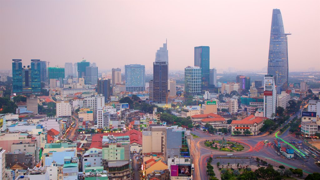 Southern Vietnam featuring a city, a sunset and landscape views