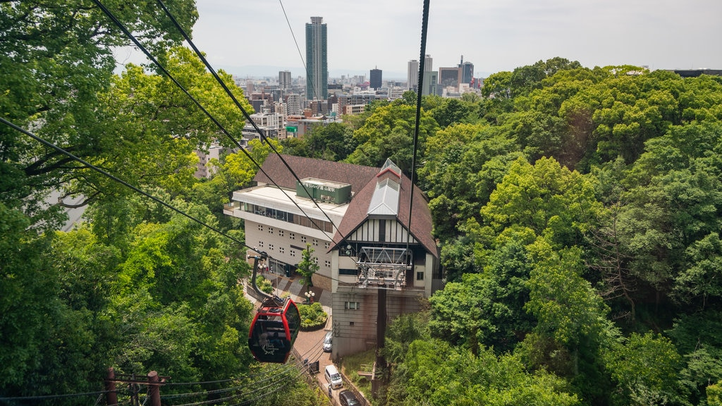 Shin-Kobe Ropeway which includes a gondola, landscape views and a city
