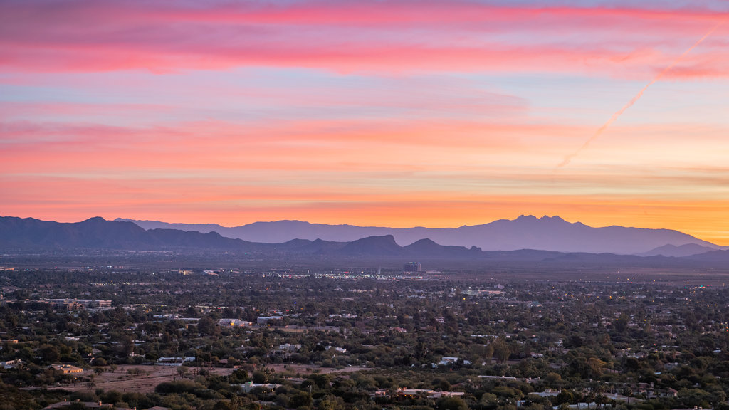 Camelback Mountain which includes a sunset and landscape views