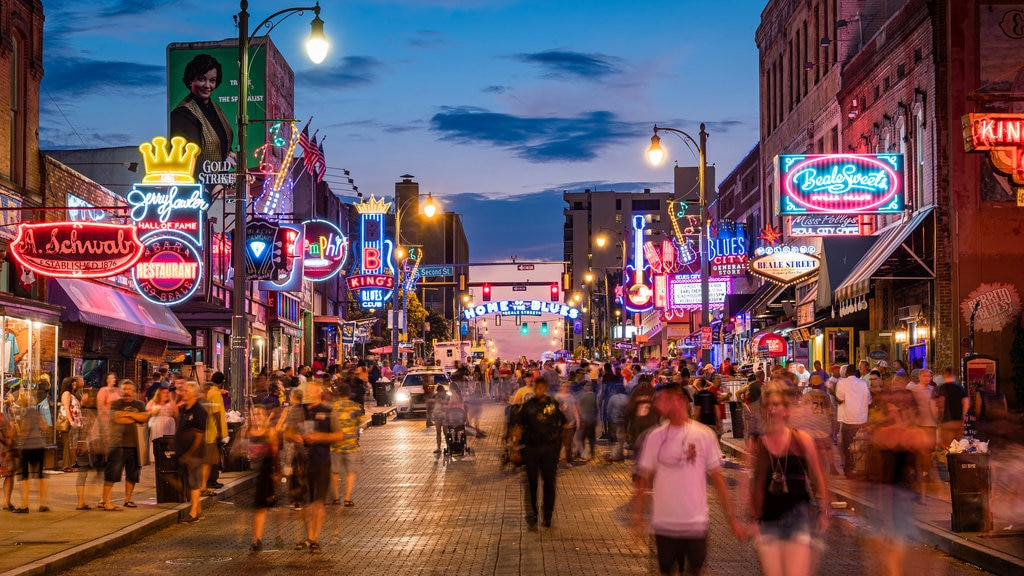 Beale Street which includes street scenes, nightlife and night scenes