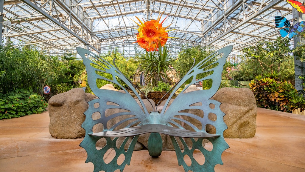 Butterfly Wonderland featuring outdoor art, interior views and a park