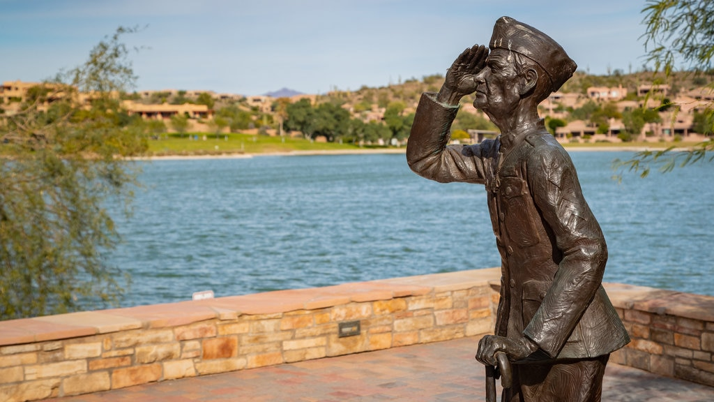 Fountain Hills Fountain which includes a statue or sculpture and a lake or waterhole