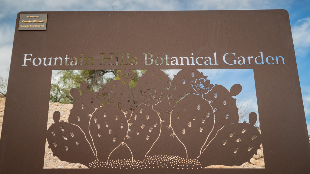 Fountain Hills Botanical Garden featuring signage