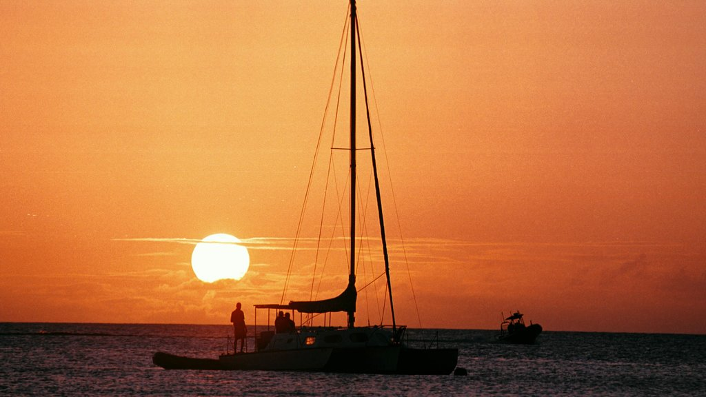 Barbados showing general coastal views, a sunset and sailing