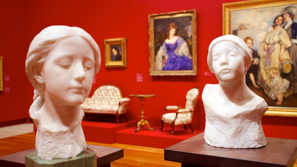 Queensland Art Gallery which includes interior views and a statue or sculpture