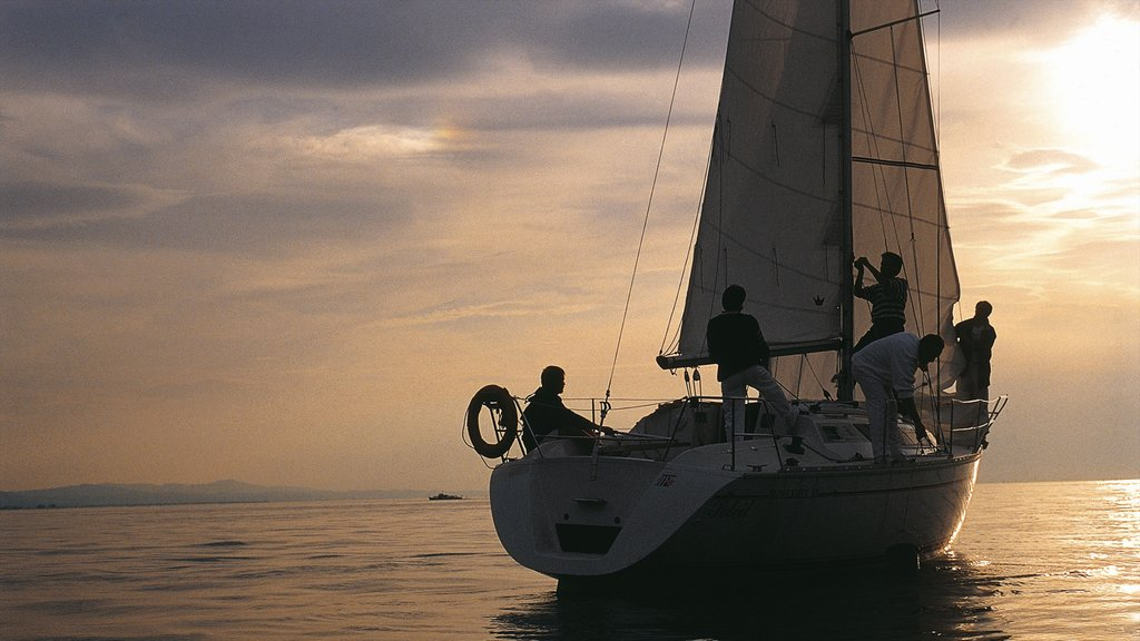Bregenz showing sailing, a sunset and boating