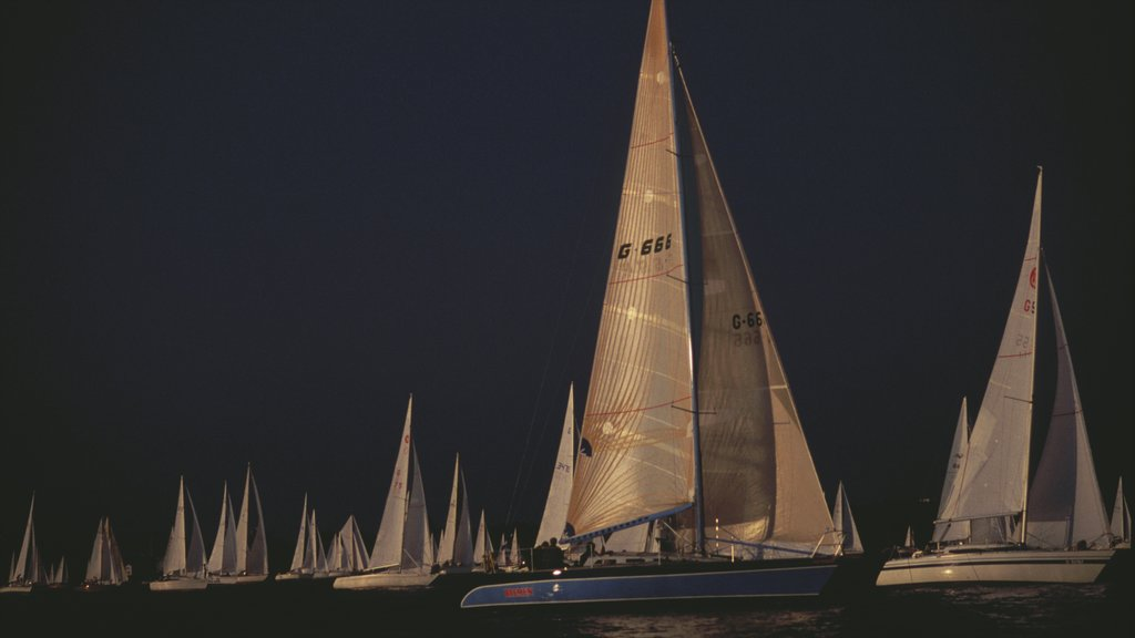 Bregenz featuring boating, night scenes and sailing