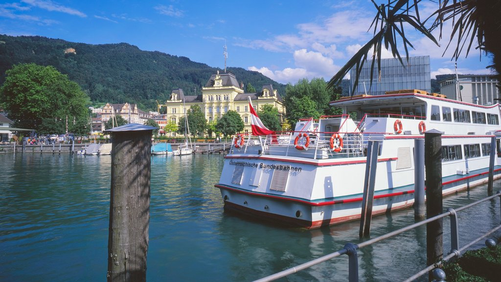 Bregenz featuring a river or creek, a ferry and a marina