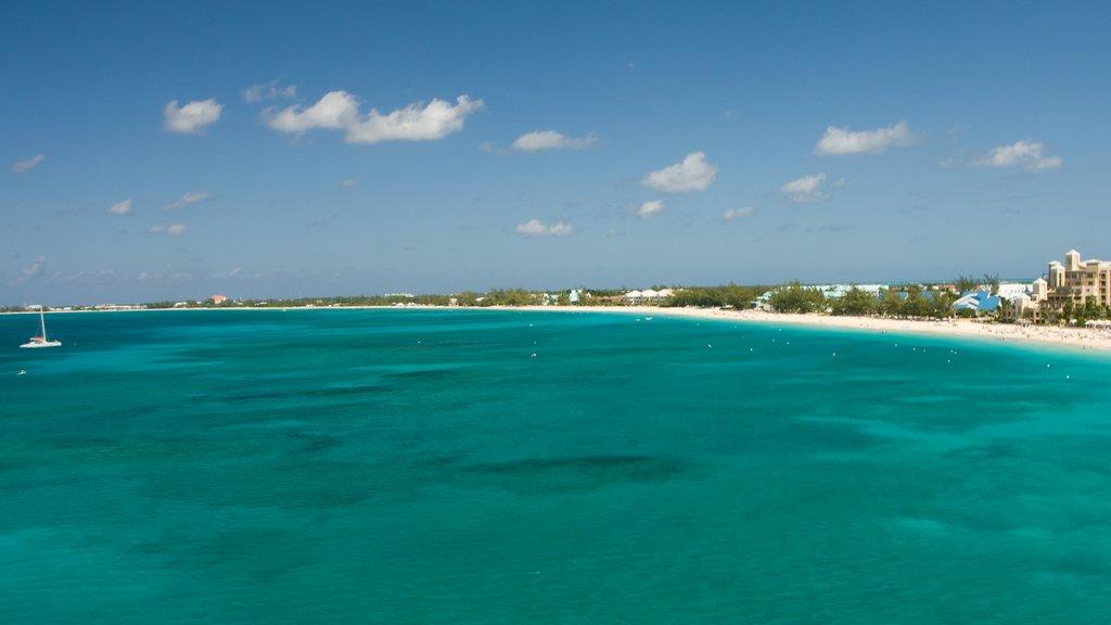 Islas Caimán mostrando vistas de paisajes, una playa de arena y escenas tropicales