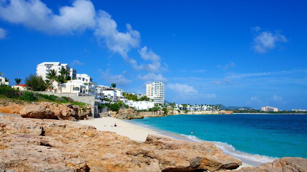 Sint Maarten showing a coastal town and a beach