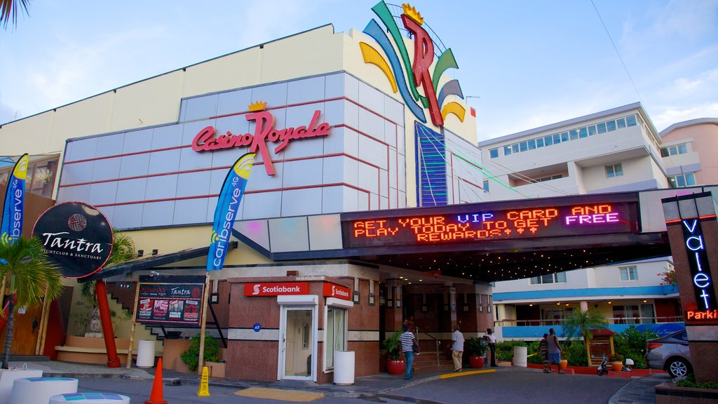 Casino Royale showing a city, a casino and signage