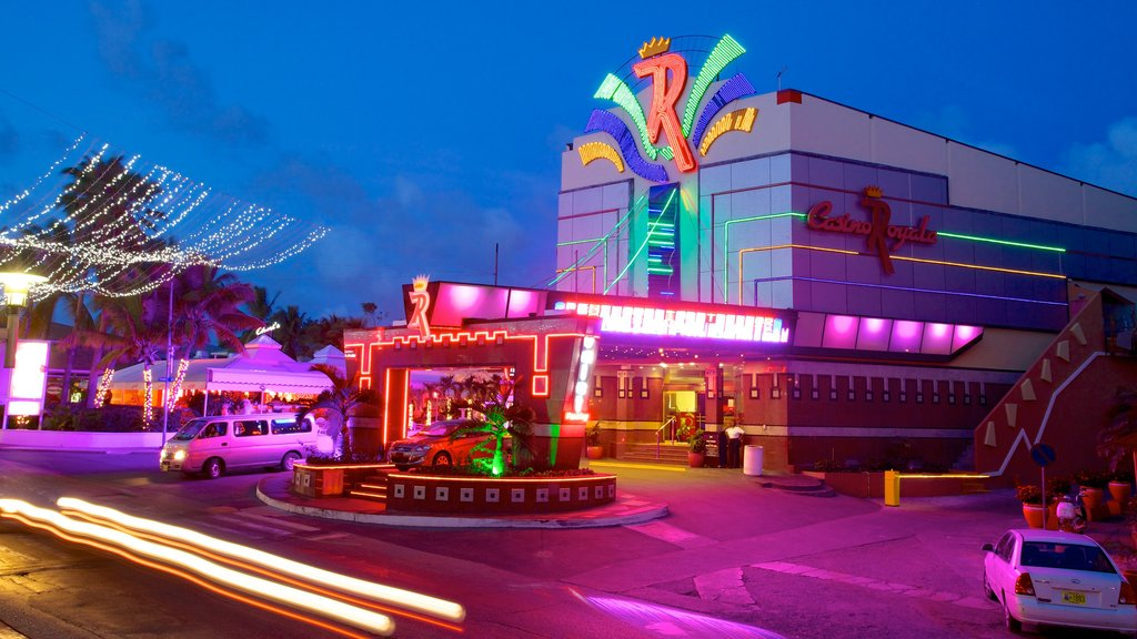 Casino Royale which includes night scenes, a city and a casino