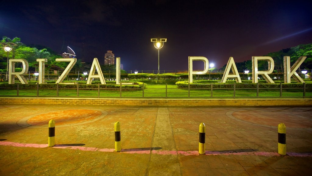 Rizal Park showing night scenes, a garden and signage