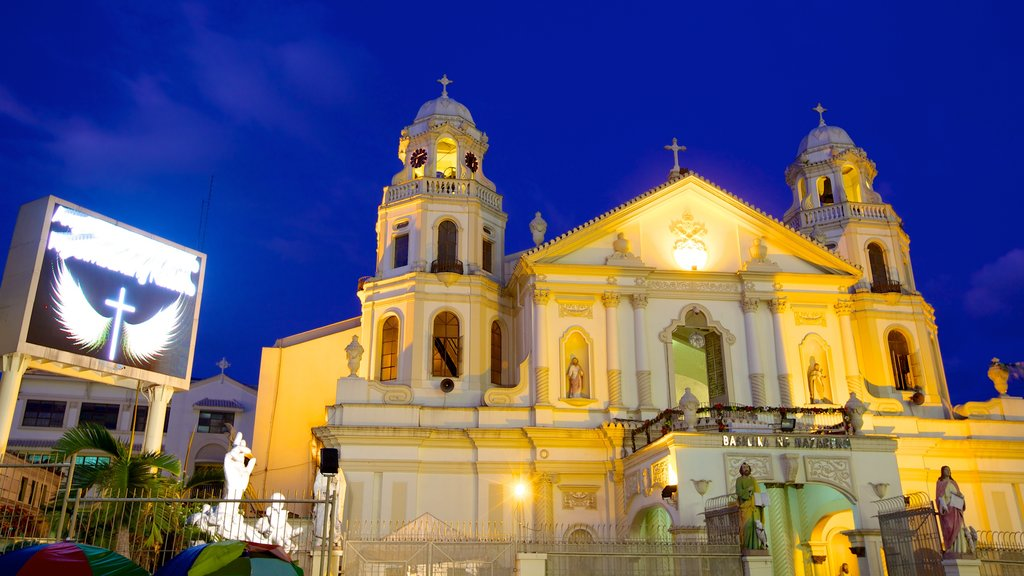 Quiapo Church featuring night scenes, a city and religious elements