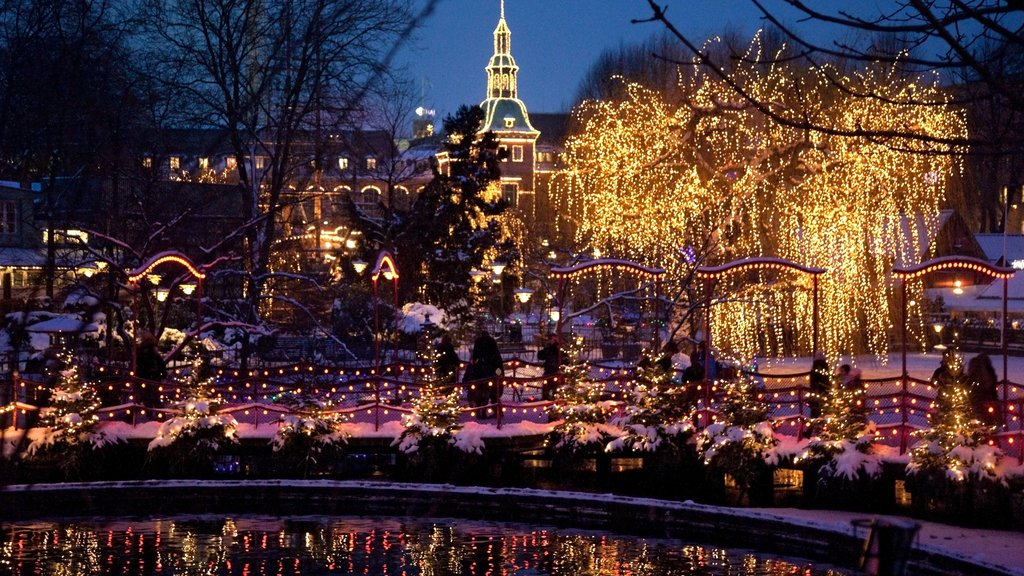Tivoli Gardens which includes night scenes, a pond and a park