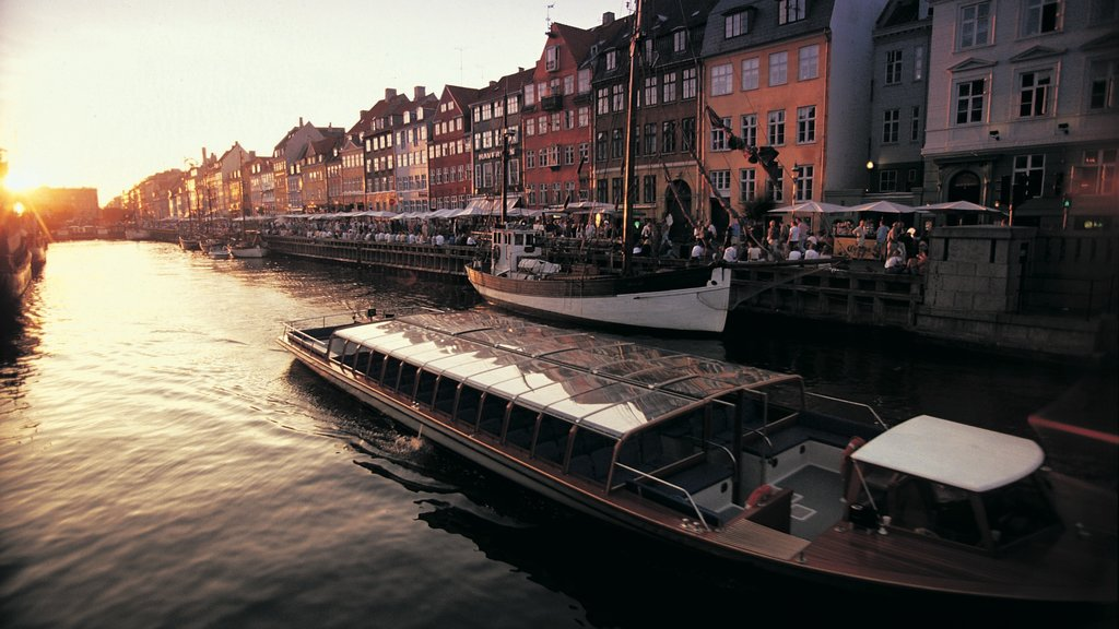 Copenhagen showing a city, a marina and a river or creek