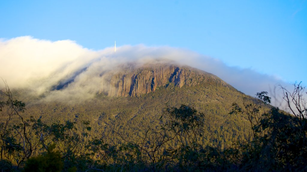 Mt. Wellington which includes mountains, landscape views and mist or fog
