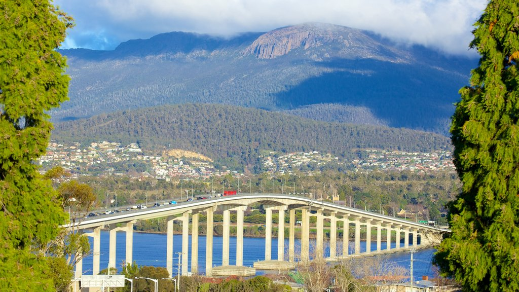Mt. Wellington which includes mountains, a river or creek and a bridge