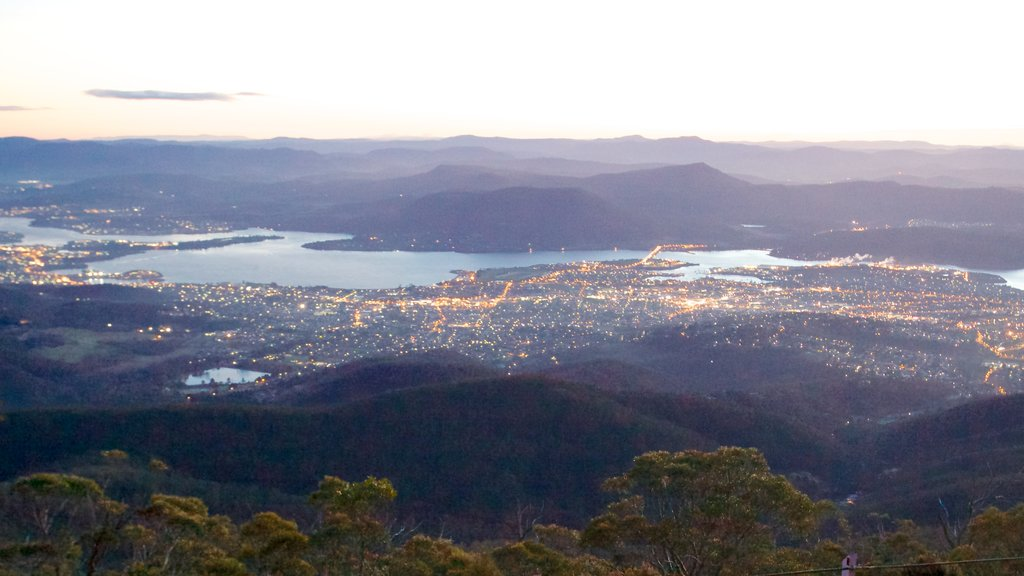 Mt. Wellington showing landscape views, a city and skyline