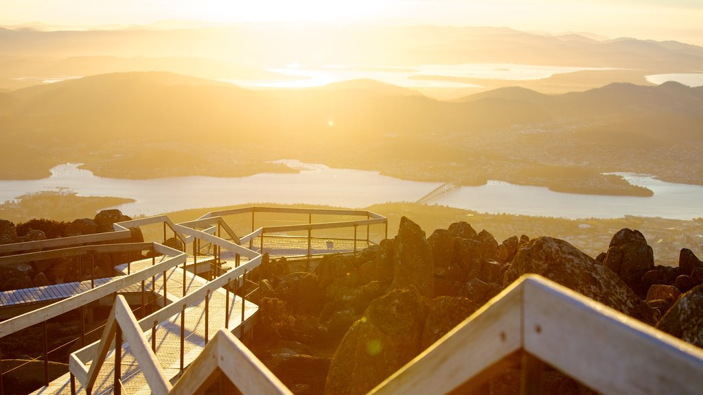 Mt. Wellington which includes views, a sunset and general coastal views
