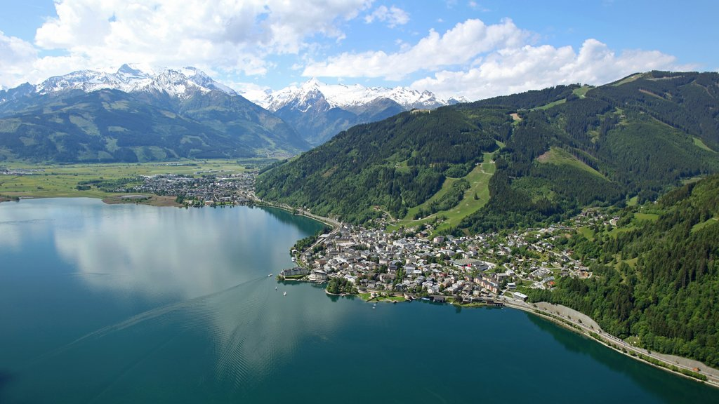 Zell am See featuring mountains, a coastal town and a lake or waterhole