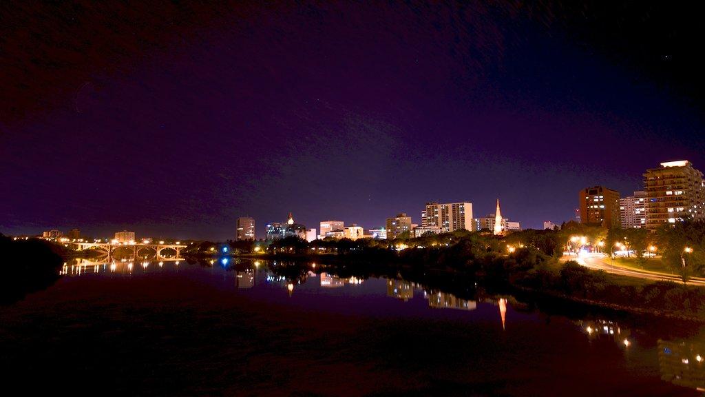 Saskatoon featuring a city and night scenes