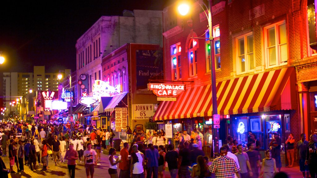 Beale Street showing a city, nightlife and signage