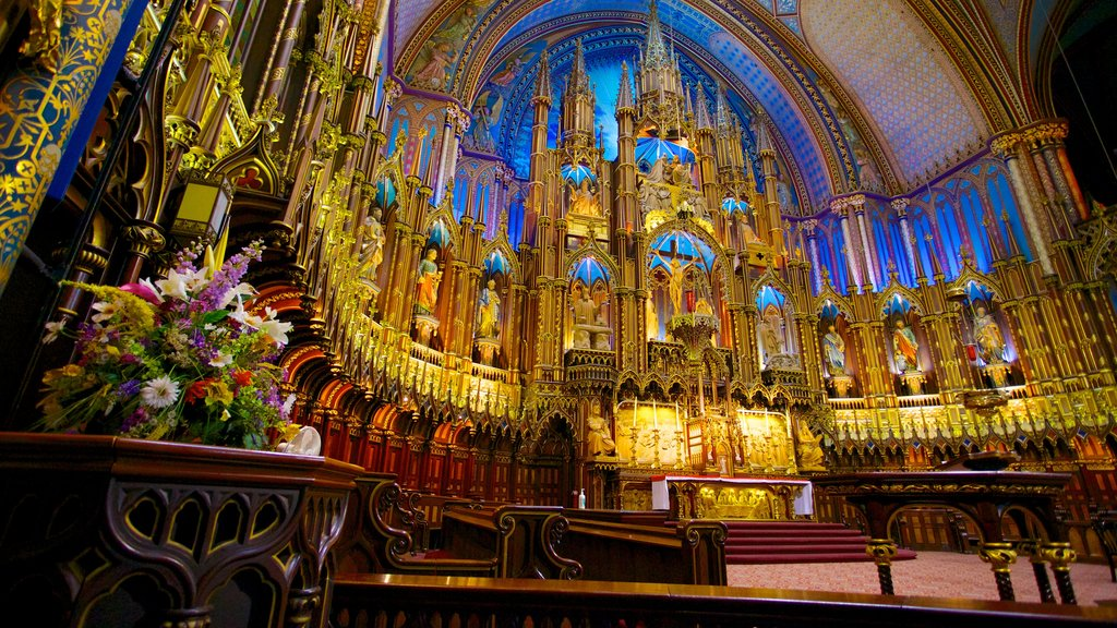 Notre Dame Basilica which includes religious aspects, a church or cathedral and interior views