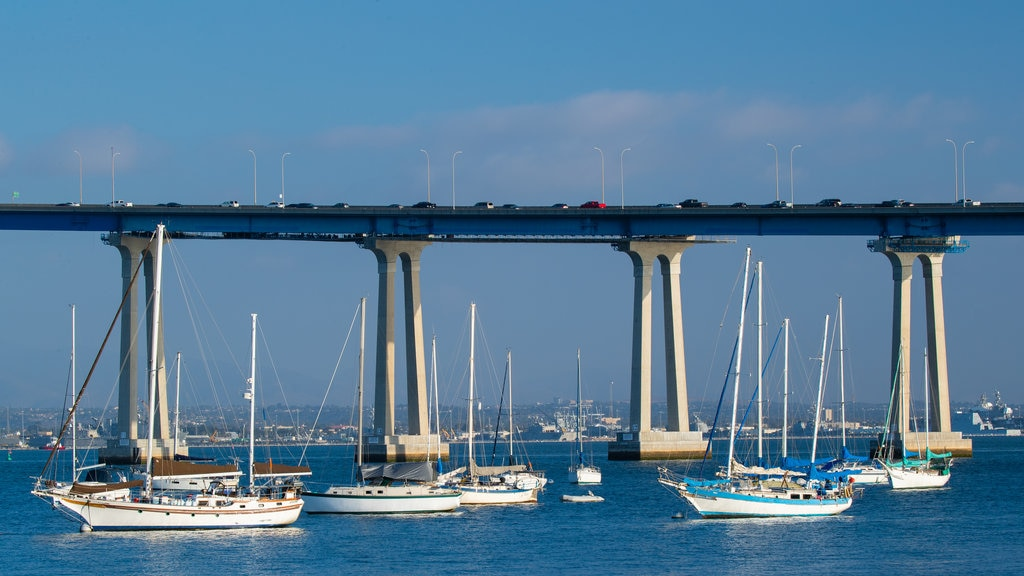 San Diego Coronado Bridge featuring a bay or harbor and a bridge
