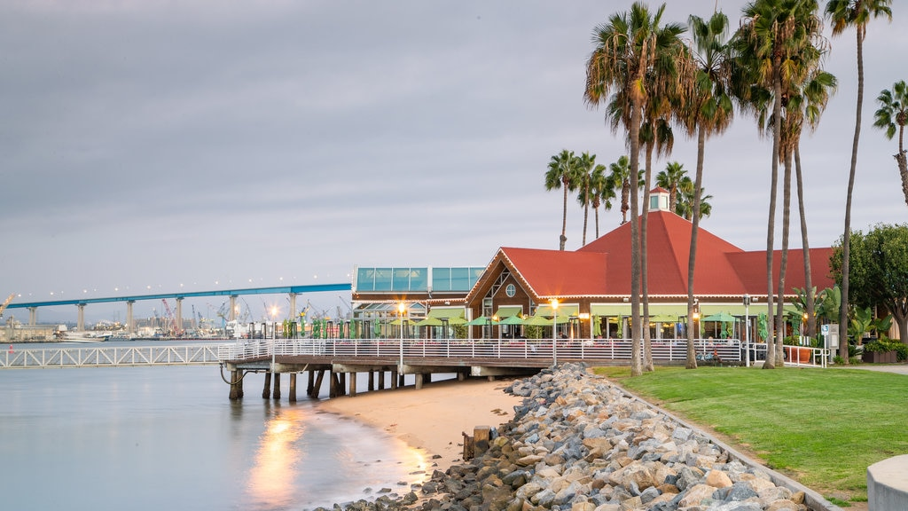 Coronado Ferry Landing which includes a sandy beach and a river or creek