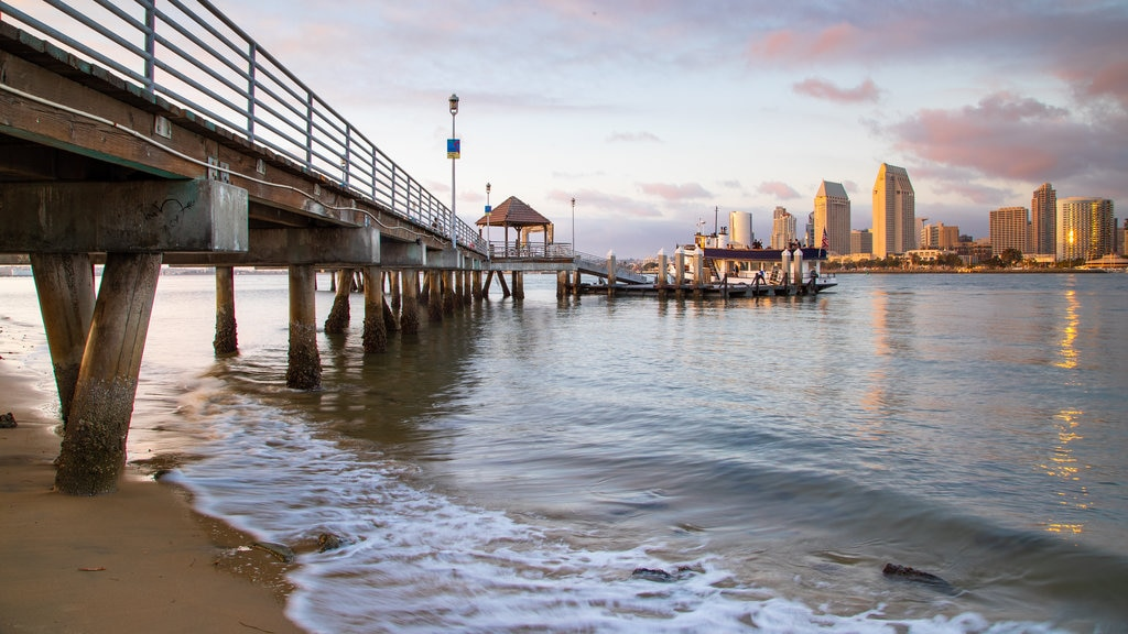 Coronado Ferry Landing which includes a beach and general coastal views