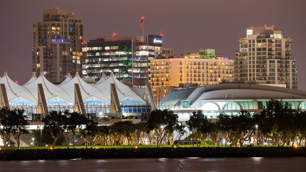 Coronado Ferry Landing featuring night scenes and a city
