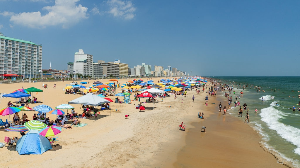 Virginia Beach which includes landscape views, a coastal town and a beach