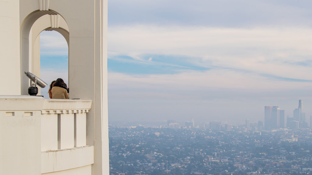 Griffith Observatory showing a city, views and mist or fog