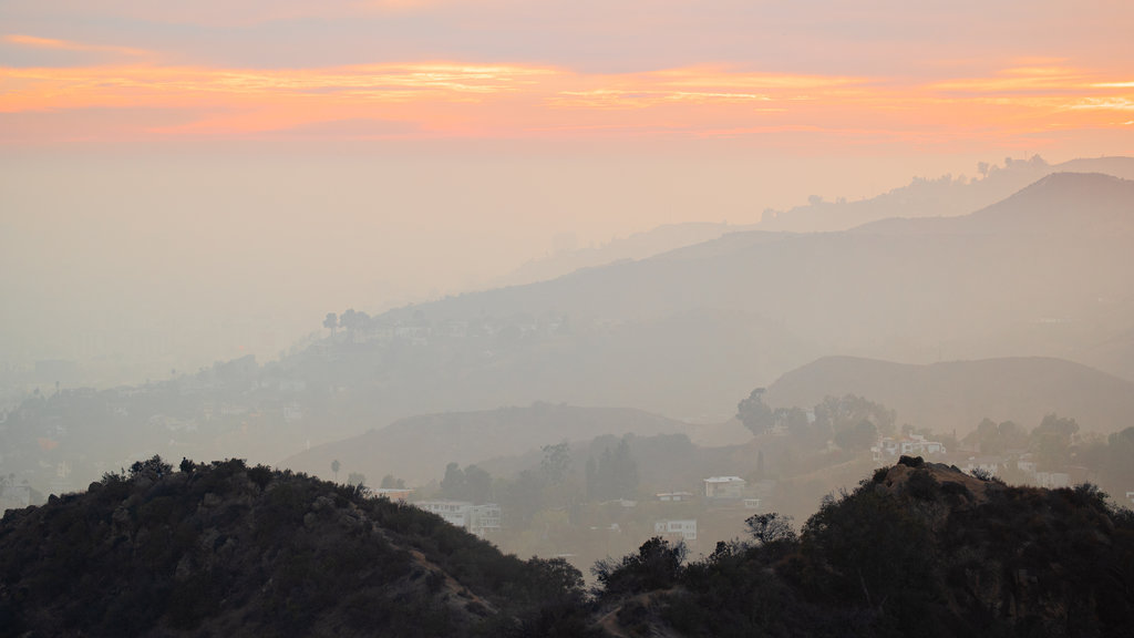 Griffith Observatory featuring mist or fog, landscape views and tranquil scenes