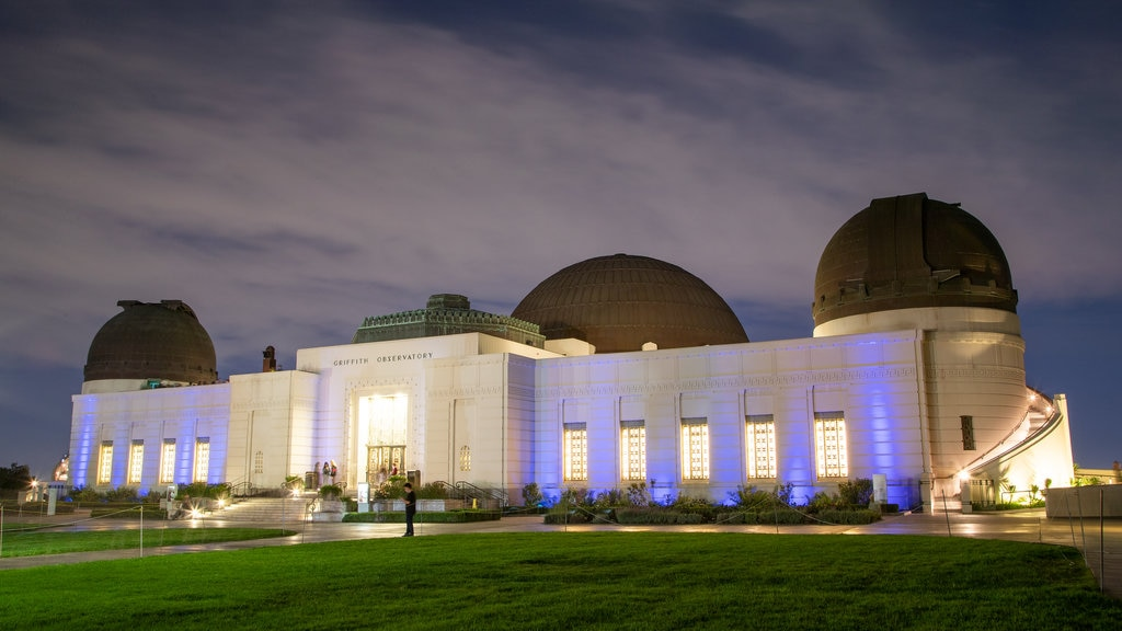 Griffith Observatory showing night scenes and an observatory