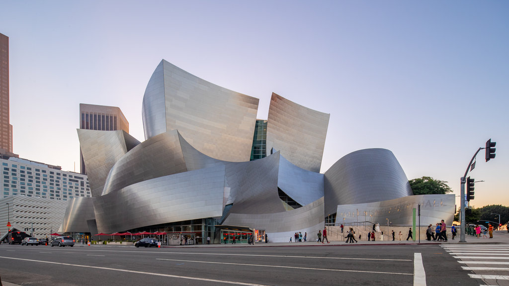Walt Disney Concert Hall which includes a sunset and modern architecture
