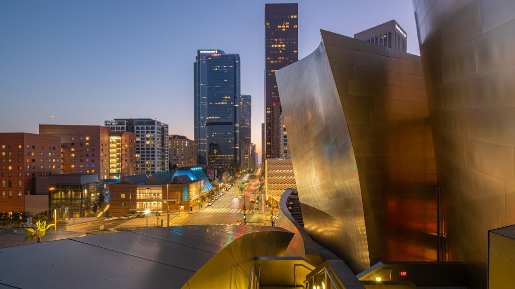 Walt Disney Concert Hall showing a city, night scenes and modern architecture