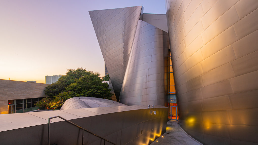 Walt Disney Concert Hall featuring modern architecture and a sunset