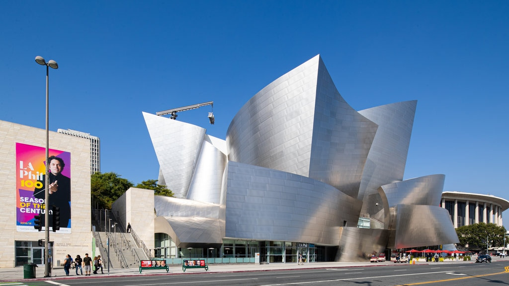Walt Disney Concert Hall featuring modern architecture and signage